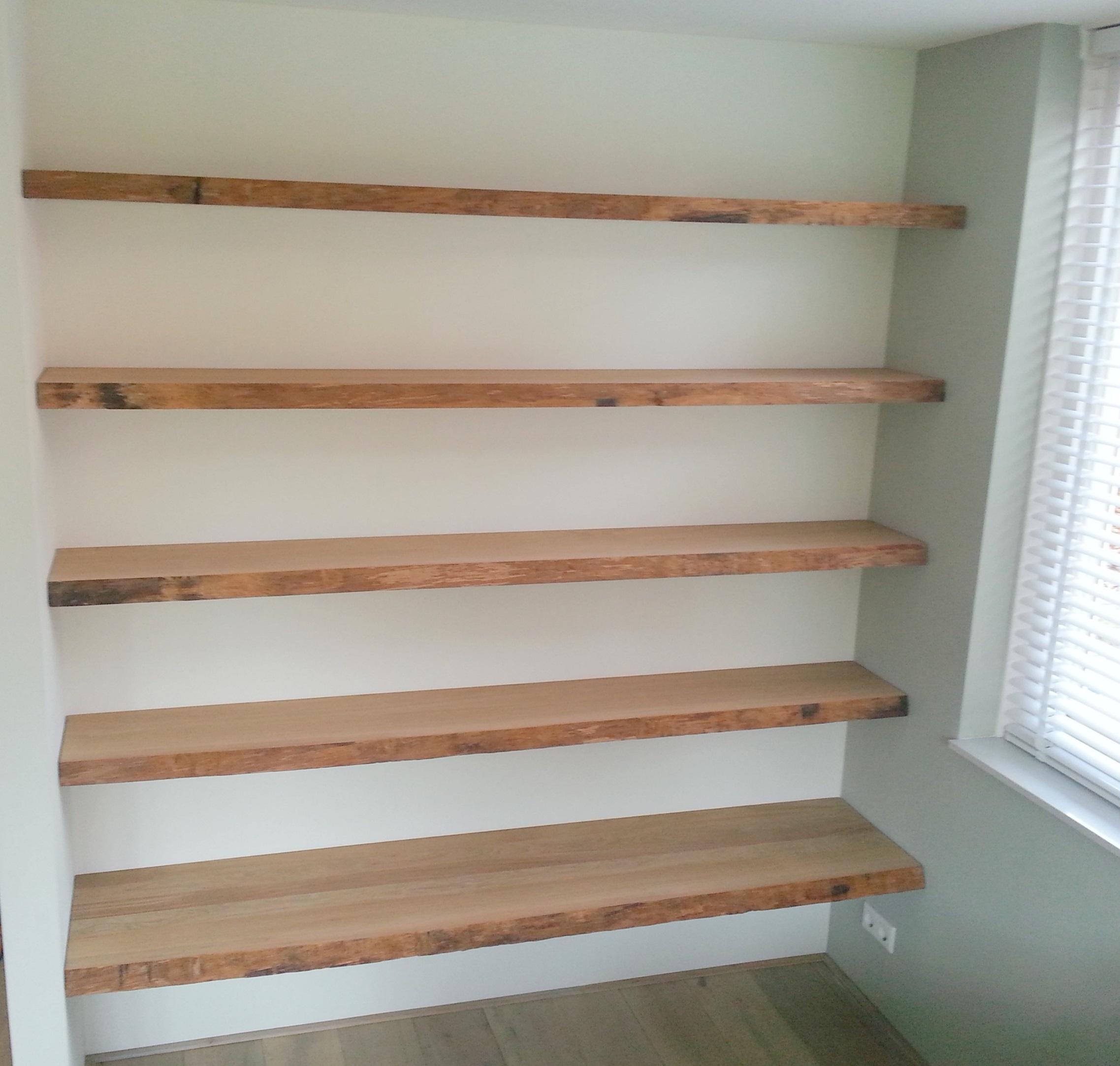 Rvs Wandplank Op Maat.Robuuste Wandplank Planken Op Maat Van Oud Hout With Robuuste